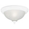 2 Light Flush Mount Ceiling Fixture White Finish with Frosted Swirl Glass