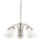5 Light Chandelier Brushed Nickel Finish with White Opal Glass