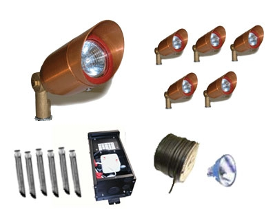 Copper MR16 Low Voltage Accent Lighting Kit 1